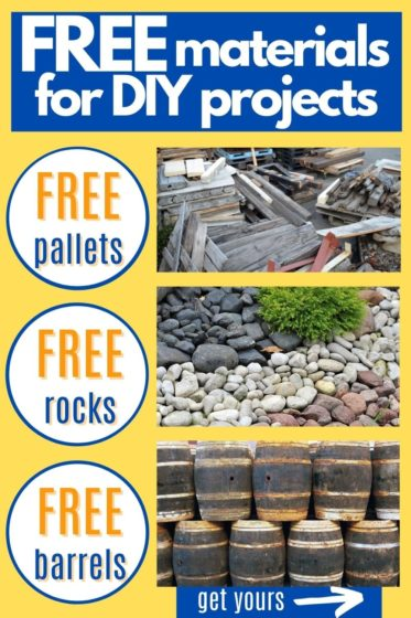 See how to get free materials for DIY projects - pallets, lumber, barrels, dirt, rocks, mulch, trees, shrubs, flowers, and seasonal items like Halloween pumpkins and Christmas trees!