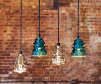 4 cool ideas for reusing glass insulators from telephone for Telephone insulator light fixture