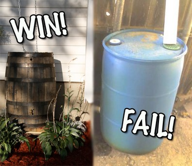 See examples of pretty rain barrels that you actually WANT to be seen!